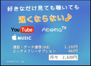 好きなだけ見ても聴いても、遅くならない♪YouTube,AbemaTV,AppleMusic、通信・データ通信(6GB)とエンタメフリーオプションで月痔機2,630円