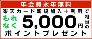 年会費永年無料、楽天カード新規加入+利用で、もれなく5,000円相当のポイントプレゼント