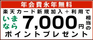 年会費永年無料、楽天カード新規加入+利用で、いまなら7,000円相当のポイントプレゼント